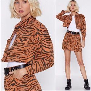 Nasty Gal Let's Go Wild Tiger denim Jacket…